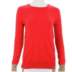 J.CREW RED & TAN CASHMERE SWEATER SIZE X-SMALL
